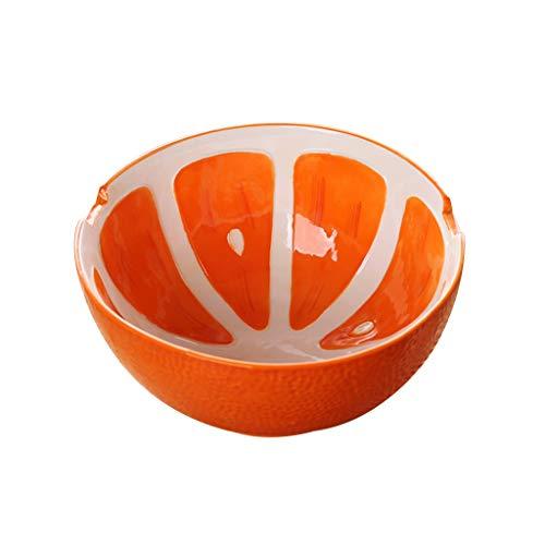 Bol en céramique de ramen, bols à soupe ménagers, céréales, salade de fruits, bol à dessert, vaisselle japonaise mignonne créative (Couleur : Orange)