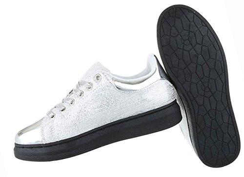 Damen Schuhe Freizeitschuhe Sneakers Turnschuhe Sportschuhe Gold Silber