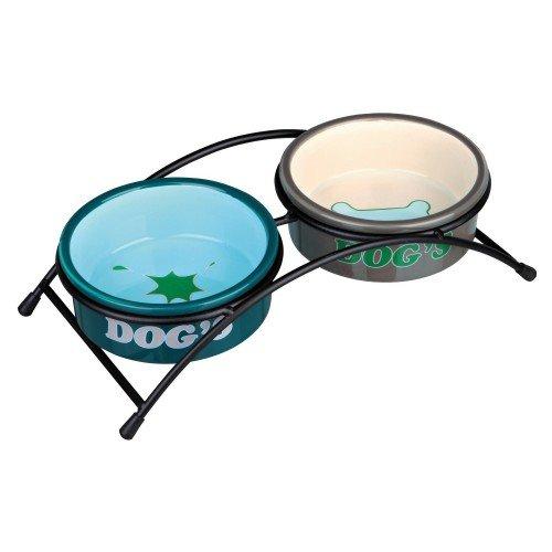 Trixie - Set de cuencos de cerámica Eat On Feet para perros (2 × 1 L/Topo/Crema,Petróleo/Azul Claro)