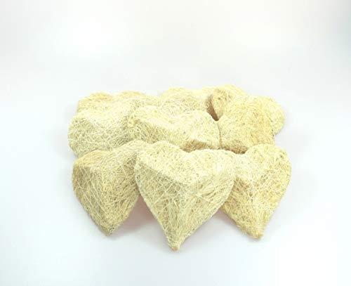 wertheim-deko 10 Sisalherzen Herzen aus Sisal bauchig 10 x 10 cm Hochzeit