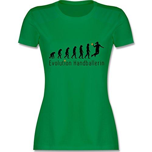 Evolution - Handballerin Evolution Wurf - tailliertes Premium T-Shirt mit Rundhalsausschnitt für Damen Grün