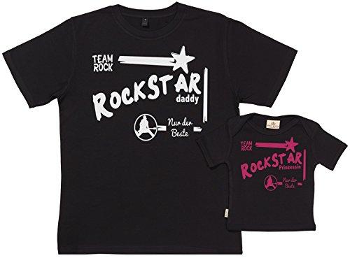SR - Geschenkpackung Baby Geschenkset - Rockstar Prinzessin - Set zur Geburt Vater T-Shirt und Baby T-Shirt in Geschenkbox - Vater Baby Geschenkset in Geschenkbox - Schwarz, XL & 6-12 Monate