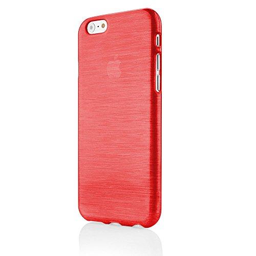 EGO® Brushed Silikon Case für iPhone 6 Plus 6S Plus 5,5'', Pink Transparent Handy Tasche Metallic Effect Cover Schutz Hülle Rot Transparent
