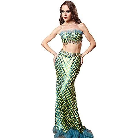 YueLian Mujeres Elegante Princesa Sirena Sirenita sin Tirantes Escotado por Detrás Escama Traje de Cosplay Disfraz (36)