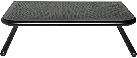 Allsop Metal Art Jr. Monitor Stand, 14-Inch Wide Platform - Holds 18kg (40 lbs) with Keyboard Storage Space - Pearl Black