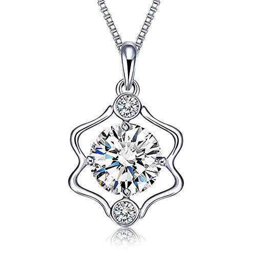 JUZIWEI Silber Halskette-925 Sterling Silber CZ Horoskop Sternzeichen 12 Konstellation Anhänger Halskette für Frauen, Gemini