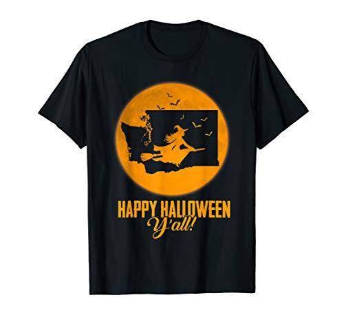 Happy Halloween Y'all Washington Witch Map T-shirt (All Halloween, Y Happy)