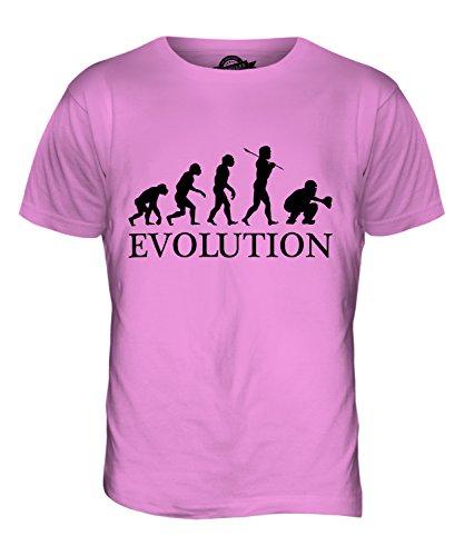 CandyMix Baseball Catcher Evolution Des Menschen Herren T Shirt Rosa
