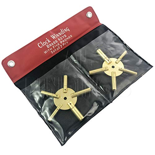 Set von 2Uhr Aufziehen Schlüssel-alle Größen Messing Spider Star Paar Tasche für (Standuhr Schlüssel Für Die)