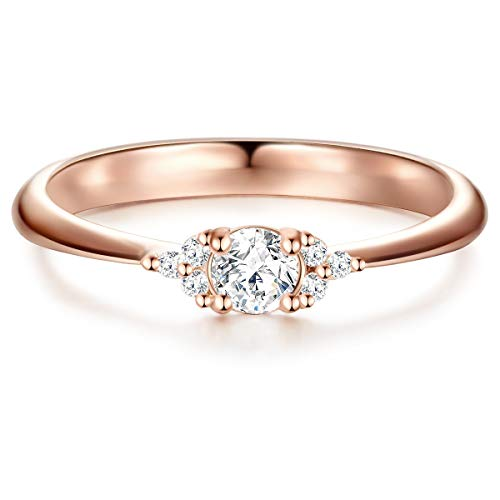 ng Verlobungsring Sterling Silber in Roségold-Farben mit Zirkonia weiß in Brilliant-Schliff - Solitär-Ring mit Stein Trauring für Hochzeit rosévergoldet ()
