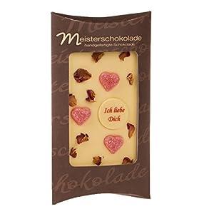 Ich liebe Dich: Weiße Schokolade von Meisterschokoladen handverziert mit Herzen und Rosenblüten 100 g Tafel