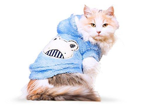 ody für Katzen, Kapuzenpullover für Hunde, Winter Hundemantel, Hund Kostüm, Katze Kostüm, schützt vor kaltem Wetter, Halloween Verkauf, Large, Hellblau ()
