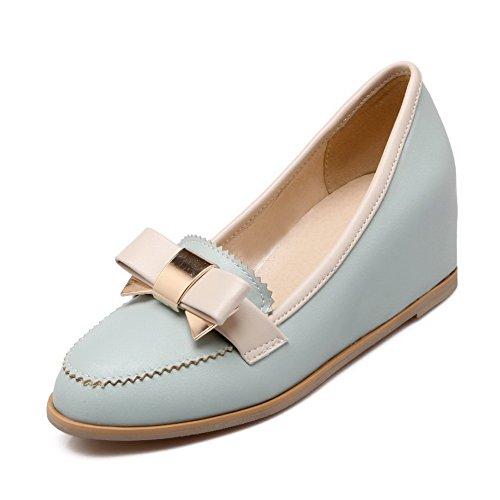 AgooLar Femme Pu Cuir Mosaïque Tire Rond à Talon Correct Chaussures Légeres Bleu