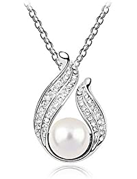 Silver Shoppee Pristine Pearl Rhodium Plated Cubic Zirconia And Pearl Studded Alloy Pendant For Girls And Women