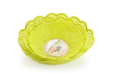 Nayasa Heart 3 Piece Plastic Fruit Basket Set, Green