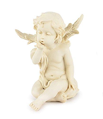Wurm GmbH + Co KG Deko Figur Schutzengel Baby Engel sitzend aus Polystein weiß, 13 cm, Dekofigur Dekoengel Engelfigur mit Handkuss