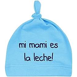 Gorro bebé unisex Mi mami es la leche! gorro recién nacido, de 0 a 3 meses. Gorro divertido y original. Friki. (azul)