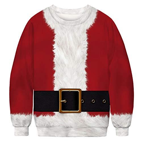 ISAAC ENGLAND Divertente Pullover Rosso Babbo Natale Gioca Costume 3D Felpa Girocollo Felpa Uomo Donna Felpa Girocollo,XXL