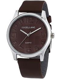 Excellanc 292027000199 - Reloj analógico de cuarzo para mujer con correa de piel, color marrón