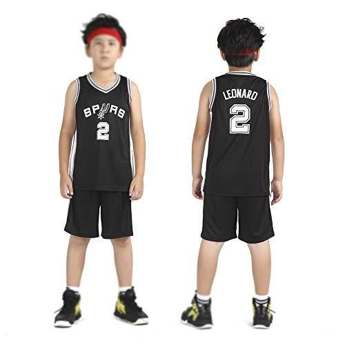 San Antonio Spurs Kawhi Leonard # 2 Trikot - Kinder Jungen Mädchen Männer Erwachsene Basketball Trikots Sommer Anzüge Kits Top + Shorts 1 Set Schwarz-XXL