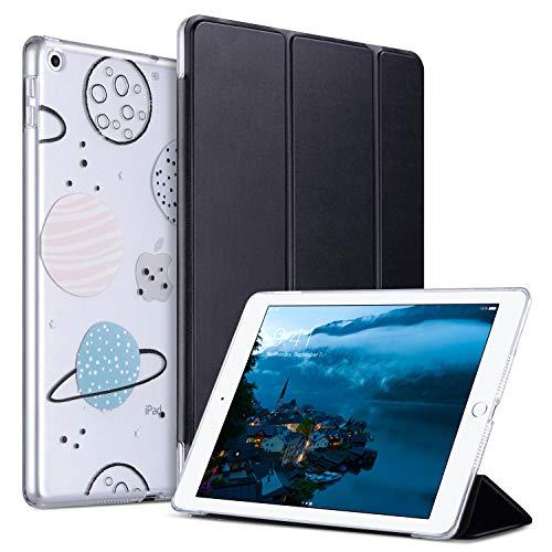 ULAK Hülle für iPad 9.7 2018/2017, Ultra Dünn Smart Case Cover mit Automatische Ruhe-/Aufwachfunktion Abdeckung Hart PC Durchscheinende Rückseite Schutzhülle für Apple iPad 9,7 Zoll, MilkyWay Schwarz