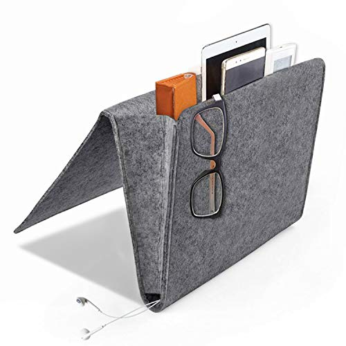 [Upgraded Version] Daite Super Thick Filz-Bett-Caddy-Organizer für Telefon, Fernbedienung, Magzine etc. Karton eingesetzt, innen 2 kleine Taschen und Seitenloch für Aufladungskabel (Dunkelgrau)