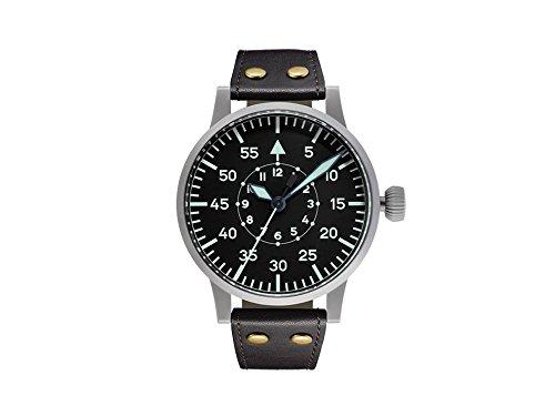 Laco réplica 55B Piloto Original Reloj automático, Negro, 55mm, Correa de Piel