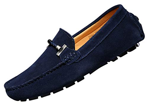 Uomo elegante fibbia mocassini comfort scamosciato scarpe di guida moda pantofole blu marino 38
