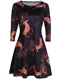ShallGood Vestiti Donna Natale Stampato Pizzo Abito Manica Lunga Mini Abito  Elegante Vintage Vestito Rotondo Collo 91e31d3890e