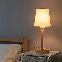 Lampada da Tavolo Tabella di Legno LED Desk Lamp Paralume Regolabile Stepless Dimming Light Reading per Camera da Letto, Soggiorno, Camera per Bambini (Colore : Bianca, Dimensione : 45X12.5cm)