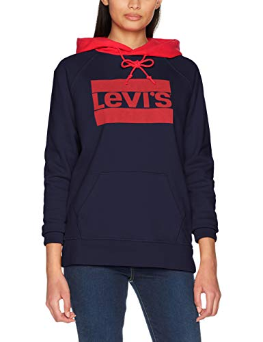 Levi's Damen Graphic Sport Hoodie Kapuzenpullover, Blau (Sptwr Maritime Blue 0026), Large (Herstellergröße: L) - Hoodie Frauen Blau