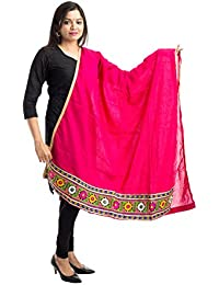 Lodestone Women's Cotton Dupatta With Embrodery Border (Rani Pink)