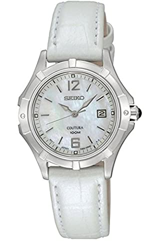 Seiko – SXDE07P2 ladies watch – Analogue quartz – Mother of Pearl Dial – White Leather