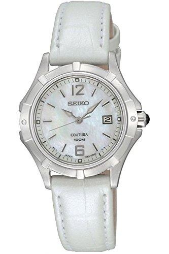 Seiko–SXDE07P2ladies watch–Analogue quartz–Mother of Pearl Dial–White Leather Bracelet