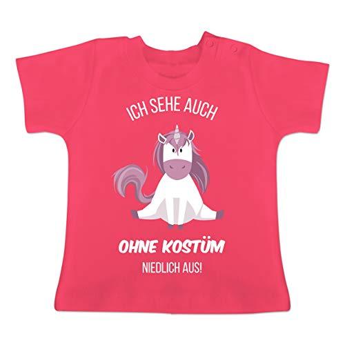Karneval und Fasching Baby - Ich Sehe auch ohne Kostüm niedlich aus Einhorn - 1-3 Monate - Fuchsia - BZ02 - Baby T-Shirt Kurzarm