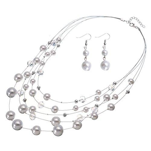 Jerollin Damen Perlenkette Bead Bib Choker Halskette Statement Kette Ohrhänger Modeschmuck Anhänger Halsreif Collier Trachtenkette Ohrringen Schmuck Set (Saphir-krawattennadel)