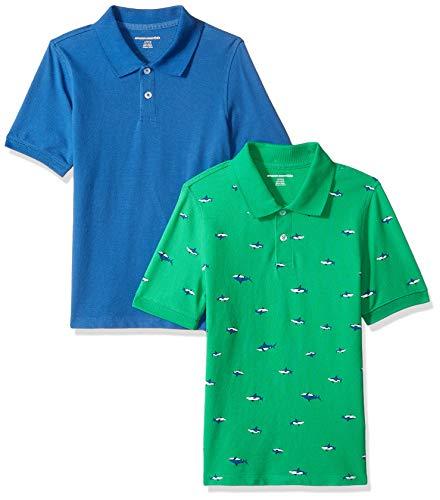 Amazon Essentials Jungen Polo Tshirt, 2er Pack, Mehrfarbig (Blue-Green with sharks), Gr. 2T 90 cm