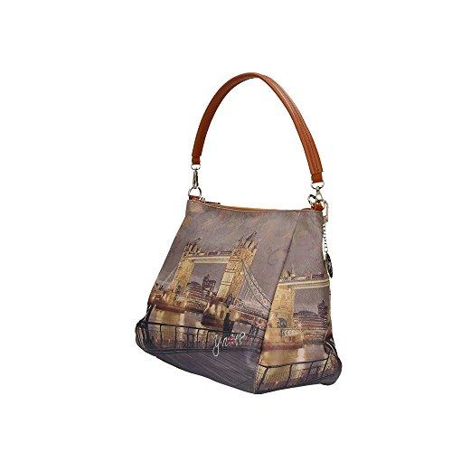 Borsa Shoulder Bag M Dark Tan Gold YLON Golden Bridge I 321 GBD Multicolor