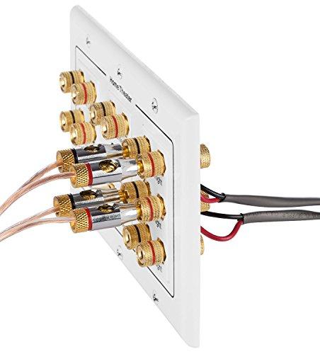 Fosmon [3-Gang 7.1 Surround Sound] Heimkino-Wandplatten Vergoldet Kupfer-Banane Bindung Pfosten Coupler Typ Wandplatte für 7 Lautsprecher und 1 RCA Buchse für Subwoofer & 1 HDMI Ports (Weiß) - 6