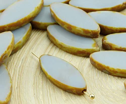 6pcs Rustique Picasso Brun Opaque Gris Gris Ovale et Plate de Pétales de Table à la Fenêtre de Coupe tchèque Perles de Verre 18mm x 7mm