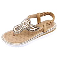 Wogo Women'S Thong Sandals Summer Women'S Flat Pants Bohemian Style Beaded Sandals Beach Casual Shoes