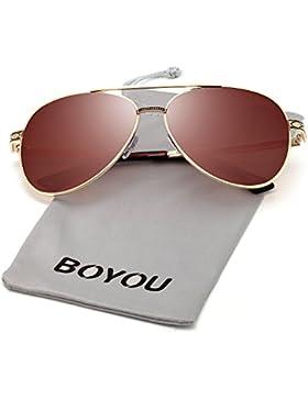 BOYOU Sonnenbrille moda espejo de metal marco mujeres gafas de sol