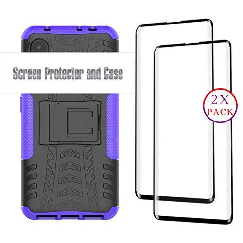 KISCO für Samsung Galaxy A8s Hülle und 2 Pack Panzerglas Schutzfolie,Stoßfest Hybrid PC und TPU Cover mit Kickstand Schutzhülle für Samsung Galaxy A8s-Lila