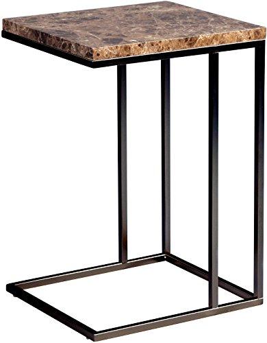 Beistelltisch Samuel, Gestell Metall schwarz lackiert, Deckplatte MDF Marmor dunkel Optik, 38x63x43cm