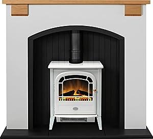 Adam Vermont Stove Suite in Cream with Dimplex Courchevel Electric Stove in White, 48 Inch