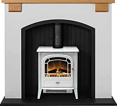 Adam Vermont Stove Suite in Cream with Dimplex Courchevel Electric Stove in White, 48 Inch