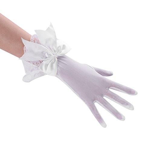 tzhandschuhe Satinhandschuhe Brauthandschuhe Weiß Schwarz Spitze Bogenverzierung Fingerlos Handschuhe Damen Handschuhe Sommer Sonnenschutz Handchuhe für Oper Hochzeit Karneval ()