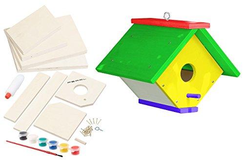PEARL Vogelhäuschen: Nistkasten-Bausatz aus Echtholz mit 6-teiligem Farben-Set (Vogel Nistkasten im Bausatz)