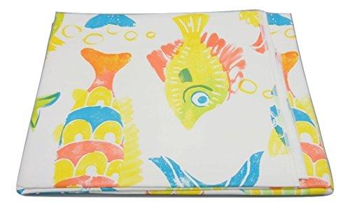 Texturen Home Tischdecke aus Wachstuch ECKIG 140x 140cms mit Biese Fisch Aquarell Waterproof...