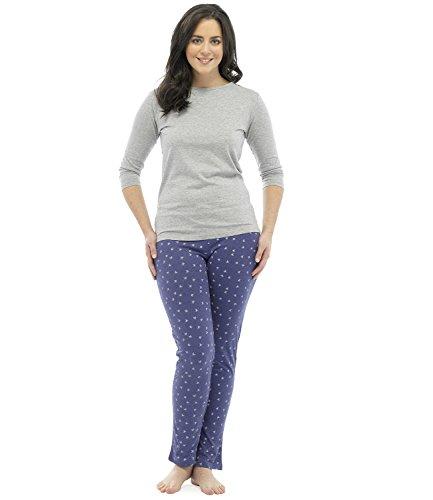 Ensemble de Pyjama T-Shirt et Pantalon Long Motif Étoile Femme Gris